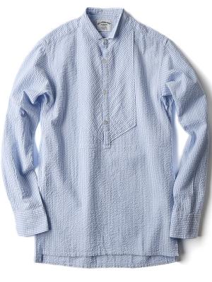 AAS White Blue Seersucker Stripe Shirt - DE08