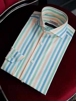 Spalla Wide Spread Collar Shirts - Aqua Stripe Lure at. Exclusive