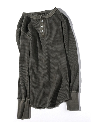 Patchii Retro Henley Neck - Charcoal