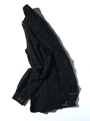 Eastlogue Banded Collar Long Shirt - Black Madras