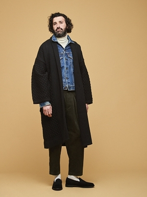 Yashiki Uninari Knit Coat -Black