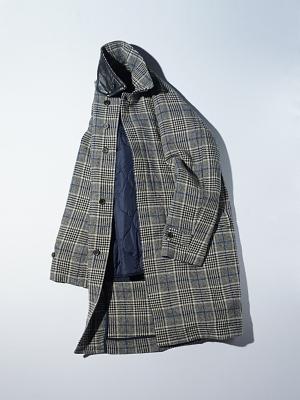 Eastlogue Balmacaan Coat - Beige Blue Check