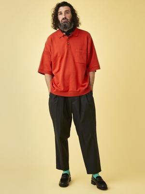 Yashiki Kumpu Knit Polo - Orange