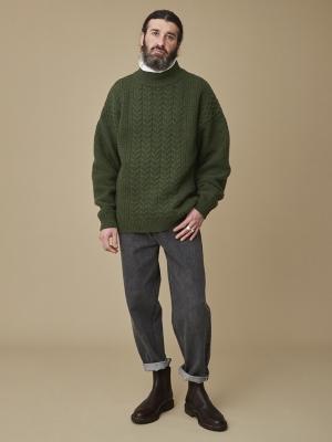 Yashiki Seijaku High Neck Knit - Moss Green